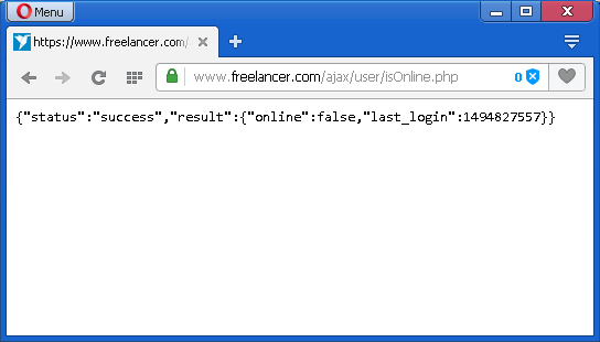 Freelancer.com error with online/offline status